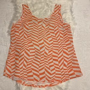 6 for $20 Hem and Thread Orange and White Top L